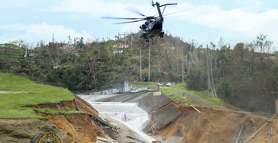 Guajataca Dam in Puerto Rico failure. Photo credit:  Pfc. Deomontez Duncan/U.S. Army