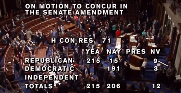 The House budget resolution. Photo credit: C-Span