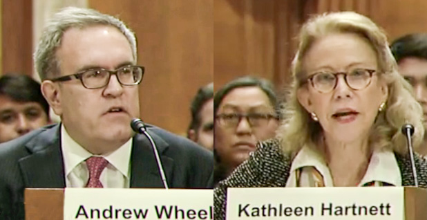 Andrew Wheeler and  Kathleen Hartnett White. Photo credits: Senate Environment and Public Works Committee