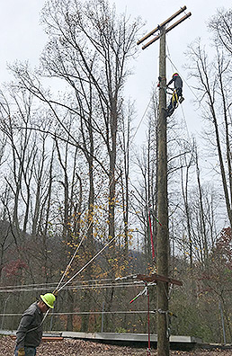Trainees work on a power line. Photo credit: Zack Colman/E&E News