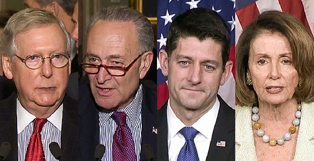 McConnell, Senate Minority Leader Chuck Schumer, House Speaker Paul Ryan and House Minority Leader Nancy Pelosi. Photo credit: C-SPAN