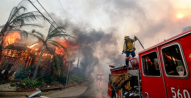 Fire in Los Angeles. Photo credit: Chris Carlson/Associated Press