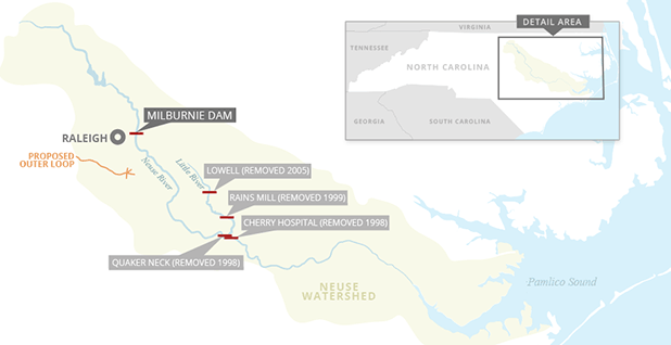 Neuse River dams. Map credit:Claudine Hellmuth/E&E News