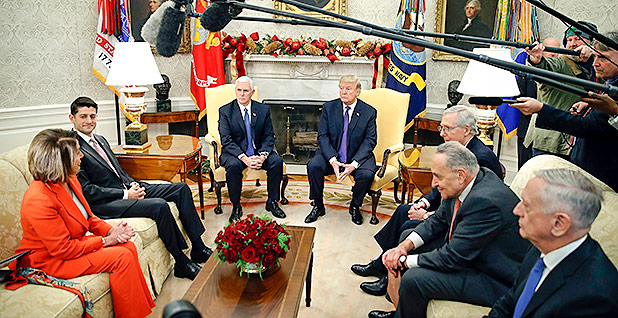 President Trump with congressional leaders in the Oval Office. Photo credit: Alex Brandon/Associated Press