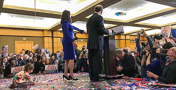 Doug Jones victory speech. Photo credit: @GDouglasJones/Twitter