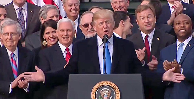 President Trump and congressional Republicans. Photo credit: White House/YouTube