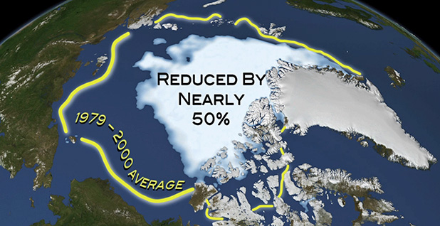 Graphic showing Polar ice caps melting. Image credit: NOAA