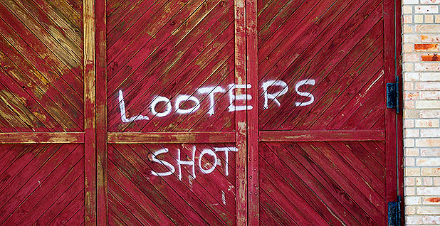 Looters graffiti Hurricane Harvey.Photo credit: Mark Mulligan/Houston Chronicle/Associated Press