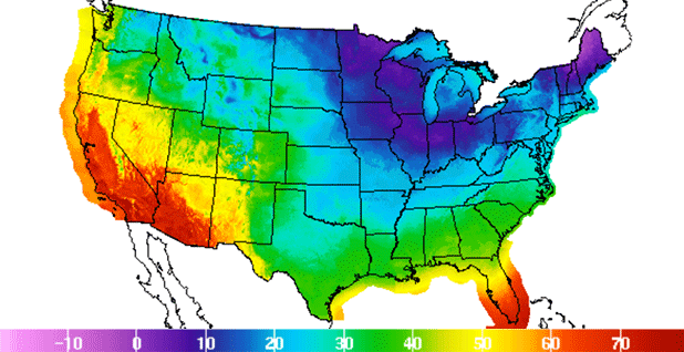 USA temp map. Image credit: NOAA