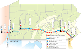 The Mariner East II pipeline map. Map credit: Energy Transfer Partners