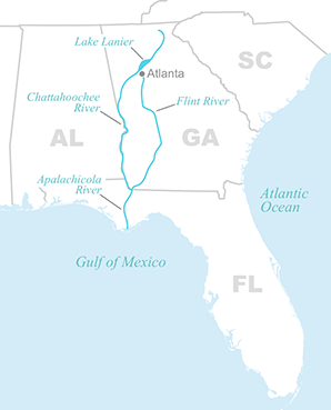 Apalachicola-Chattahoochee-Flint river basin map. Map credit: Claudine Hellmuth/E&E News