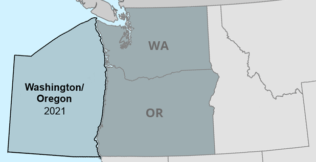 Washington and Oregon offshore drilling map. Map: Claudine Hellmuth/E&E News; Data: Bureau of Ocean Energy Management