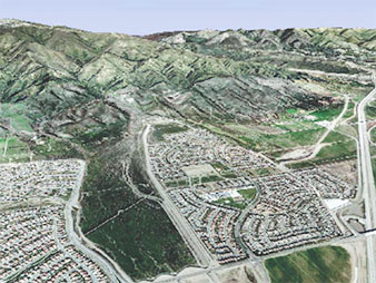 Preserved active San Sevaine wash in Rancho Cucamonga, Calif. Photo credit: ESRI ArcGIS Explorer/Alluvial Fan Task Force/California State University, Santa Barbara
