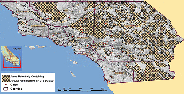 Areas of Southern California with alluvial fans. Map credit: Alluvial Fan Task Force/California State University, Santa Barbara