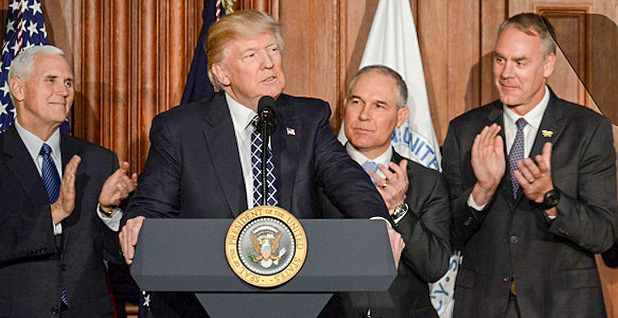Mike Pence, Donald Trump, Scott Pruitt, Ryan Zinke. Photo credit: U.S. Department of Interior