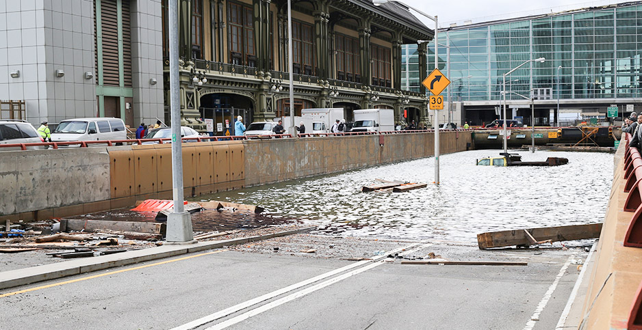 The Battery Park Tunnel is filled with floodwater and floating debris. Photo credit: Timothy Krause/Flickr