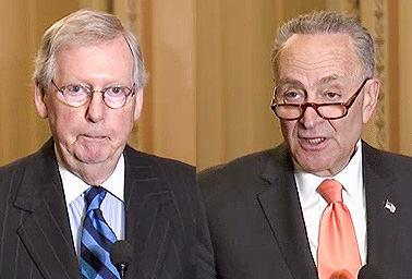 Senate Majority Leader Mitch McConnell (R-Ky.) and Minority Leader Chuck Schumer (D-N.Y.). Photo credit: C-SPAN