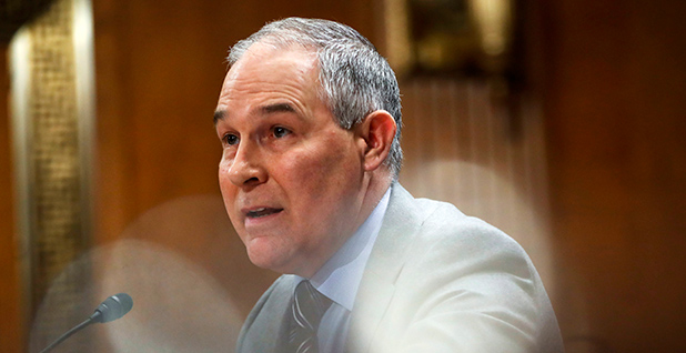 EPA Administrator Scott Pruitt is seen speaking into a microphone in the Senate. Photo credit: Pablo Martinez Monsivais/Associated Press
