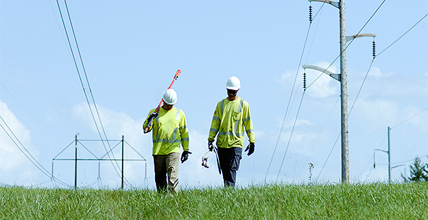 Utility workers and a power line. Photo credit: Northern Pass Transmission LLC
