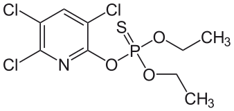 Chemical structure of chlorpyrifos. Photo credit: NEUROtiker/Wikipedia