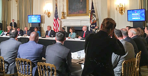 President Trump speaking about infrastructure at the White House. Photo credit: @NStrom45/Twitter