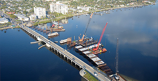 An aerial view shows a bridge under construction in Palm Beach County, Florida. Photo credit: Florida Department of Transportation