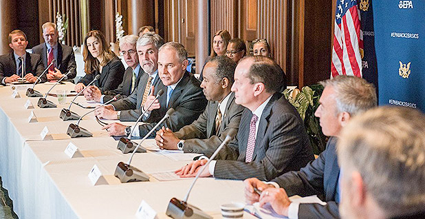 Agency heads at a conference table. Photo credit: @EPAScottPruitt/Twitter