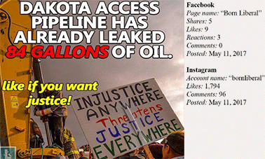 """Russian social media post about Dakota Pipeline saying """"Dakota Access Pipeline has already leaked 84 gallons of oil. Like if you want justice!"""". Photo credit: U.S. House of Representatives Committee on Science, Space, and Technology"""