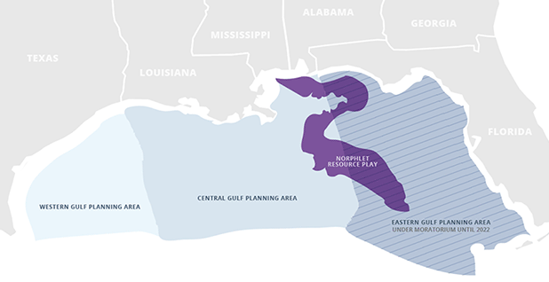 Map showing Gulf of Mexico offshore planning areas and oil play. Photo credit: Claudine Hellmuth/E&E News