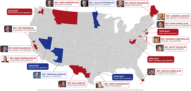 Midterm elections map. Map credit: Claudine Hellmuth/E&E News