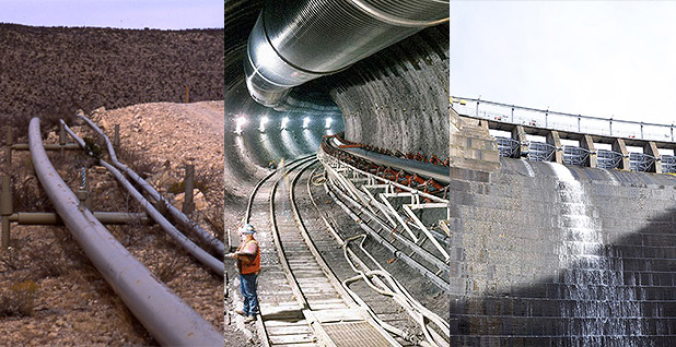 Gas pipeline, Yucca Mountain nuclear waste site and dam. Photo credit: Wikipedia (pipelines); Nuclear Regulatory Commission/Flickr (Yucca Mountain tunnel); Jeremy Jacobs/E&E News (dam)
