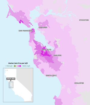San Francisco housing price map. Map:Claudine Hellmuth/E&E News;Data: Trulia