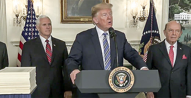 President Trump news conference on Omnibus Spending Bill.. Photo credit: White House/YouTube