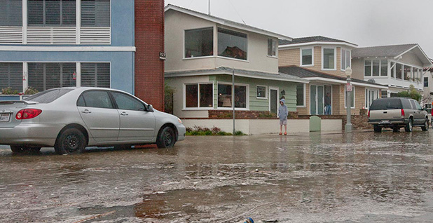 Water flooding streets in Newport Beach, Calif. Photo credit: Jim Auger/Newport Beach