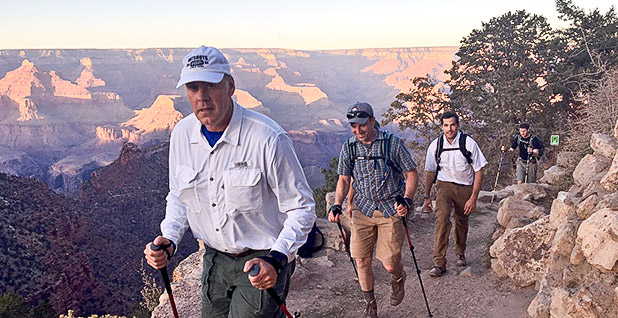 Interior Secretary Zinke hiking in Grand Canyon National Park. Photo credit: @SecretaryZinke/Twitter