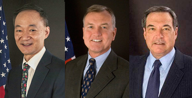 Former FERC Commissioners Norman Bay, John Norris and Jon Wellinghoff. Photo credit: FERC