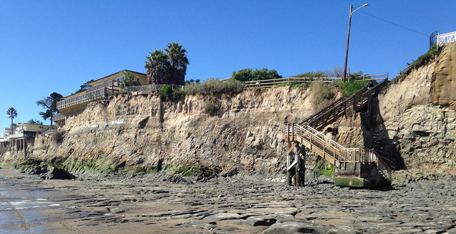 Erosion has exposed the bedrock of a beach at Isla Vista, Calif. Photo credit: Alex Snyder, U.S. Geological Survey