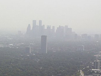 Haze and the Houston skyline. Photo credit: University of Texas/NOAA Earth System Research Laboratory