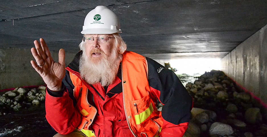 Paul Wagner in a culvert. Photo credit: Amanda Reilly/E&E News