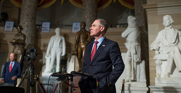 EPA Administrator Scott Pruitt is seen in the Capitol. Photo credit: Tom Williams/CQ Roll Call/Associated Press