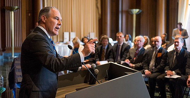 Scott Pruitt at podium speaking. Photo credit: @EPA/Twitter.