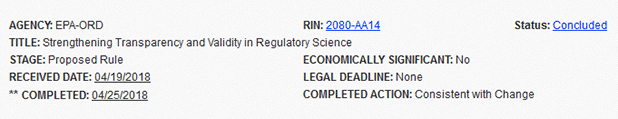 Screen shot of Strengthening Transparency and Validity in Regulatory Science from OMB's Reginfo.gov site.