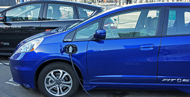 Honda Fit electric vehicle at a public charging station in San Francisco. Photo credit: mariordo59/Flickr
