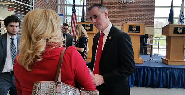 Rep. Brian Fitzpatrick  (R-Pa.) talking to a voter following a Republican candidate forum this week in Bristol, Pa. Photo credit: Josh Kurtz/E&E News