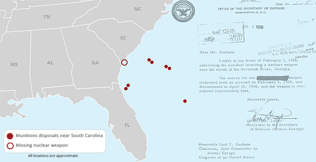 Map showing munitions locations near South Carolina with a 1958 letter mentioning a missing bomb. Map credit: Claudine Hellmuth/E&E News