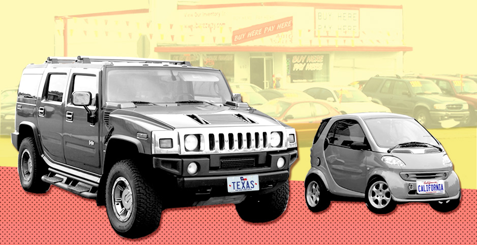 Photo illustration with Hummer and a Smart car. Image credit: Claudine Hellmuth/E&E News (illustration); John Lloyd/Flickr (car lot); Roman Harak/Flickr (Hummer); Chen Chin/Wikipedia (Smart car)