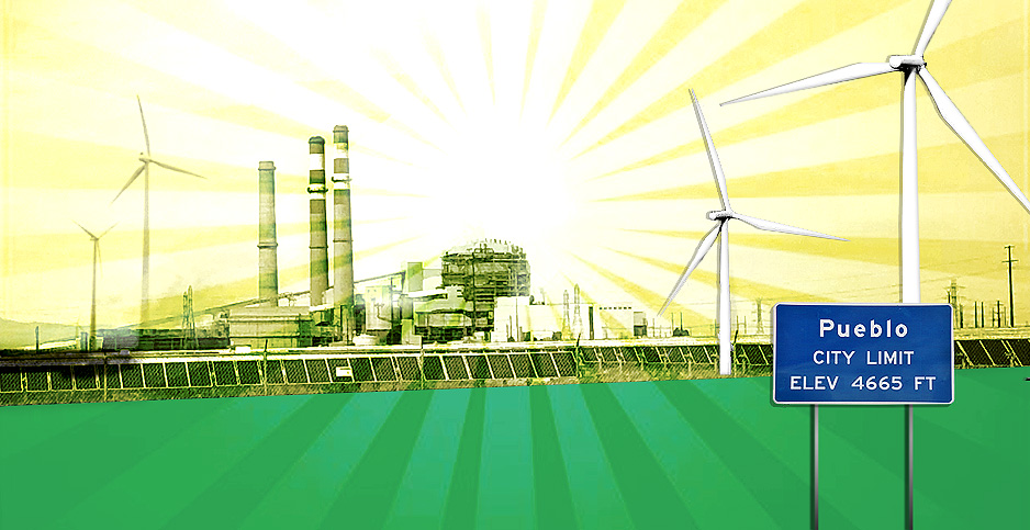Photo illustration of coal plant with wind turbines. Image credit: Claudine Hellmuth/E&E News (illustration); chimchim237/Pixabay (wind turbines); Benjamin Storrow/E&E News (coal plant)