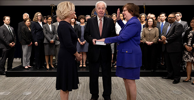 Barbara Underwood swearing in. Photo credit: New York Attorney General/Flickr
