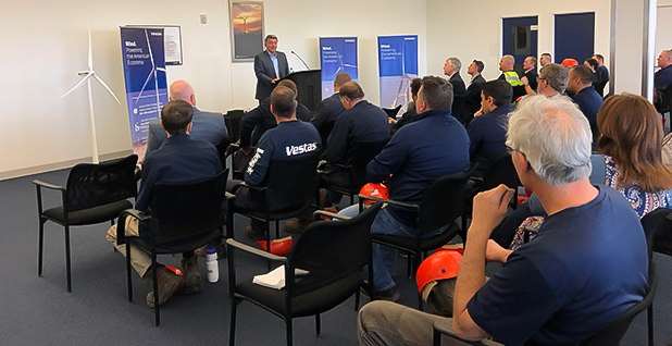 Sen. Cory Gardner (R) addresses workers at a Vestas Wind Systems factory in Brighton Colo. in April. Photo credit: Ben Storrow/E&E News