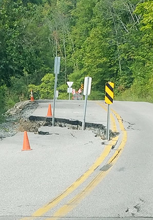 A caved-in road in Wetzel County, W.Va. Photo credit: Jenny Mandel/E&E News